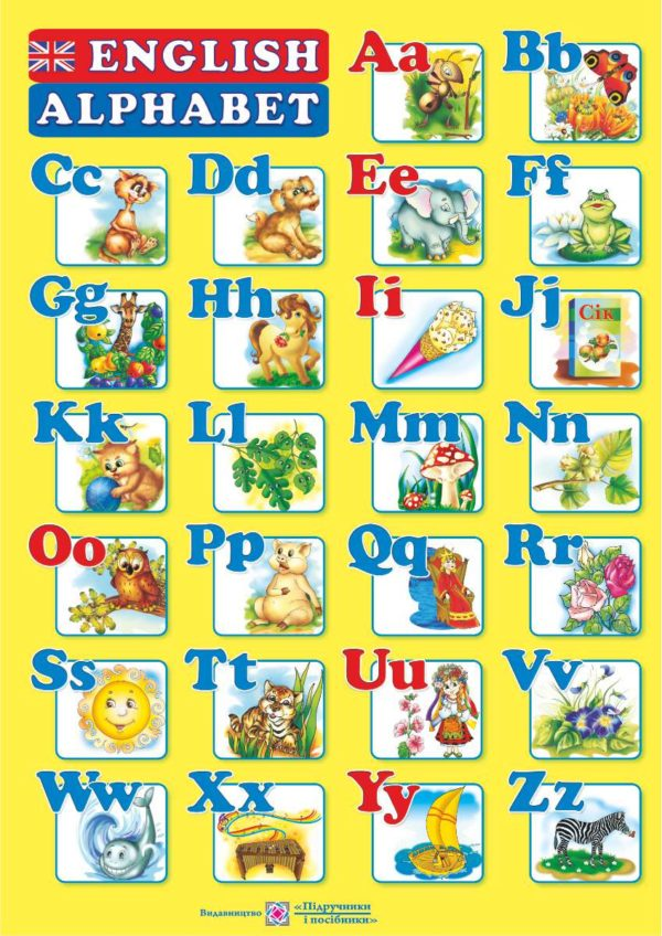 Плакат двосторонній «Англійський алфавіт» (для учня)