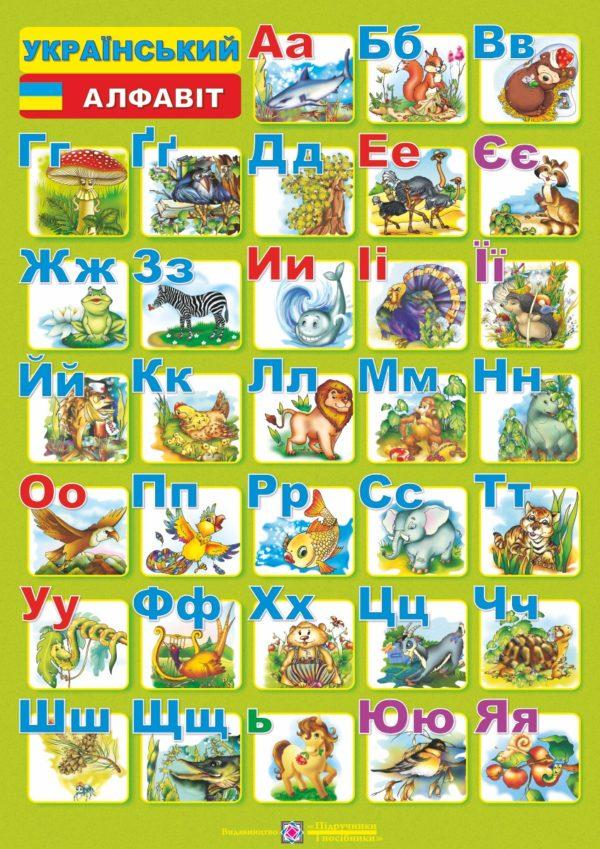 Плакат двосторонній (друковані та писані літери) «Український алфавіт» (для учня)