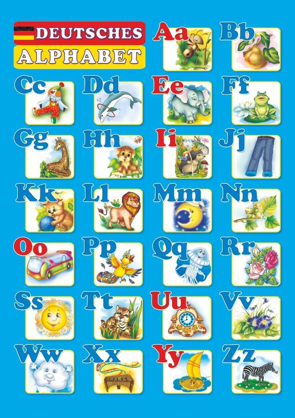Плакат двосторонній «Німецький алфавіт» (для учня)