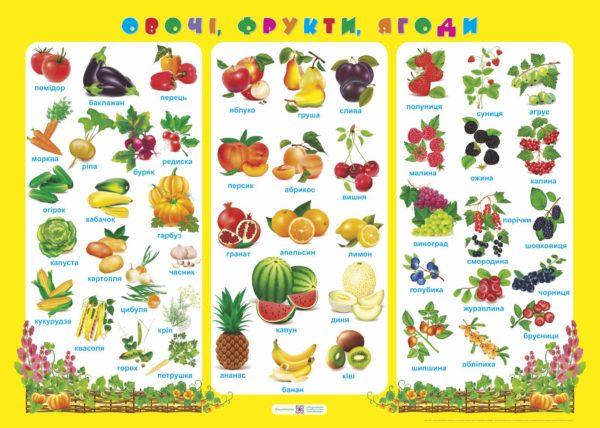Плакат «Овочі, фрукти, ягоди»