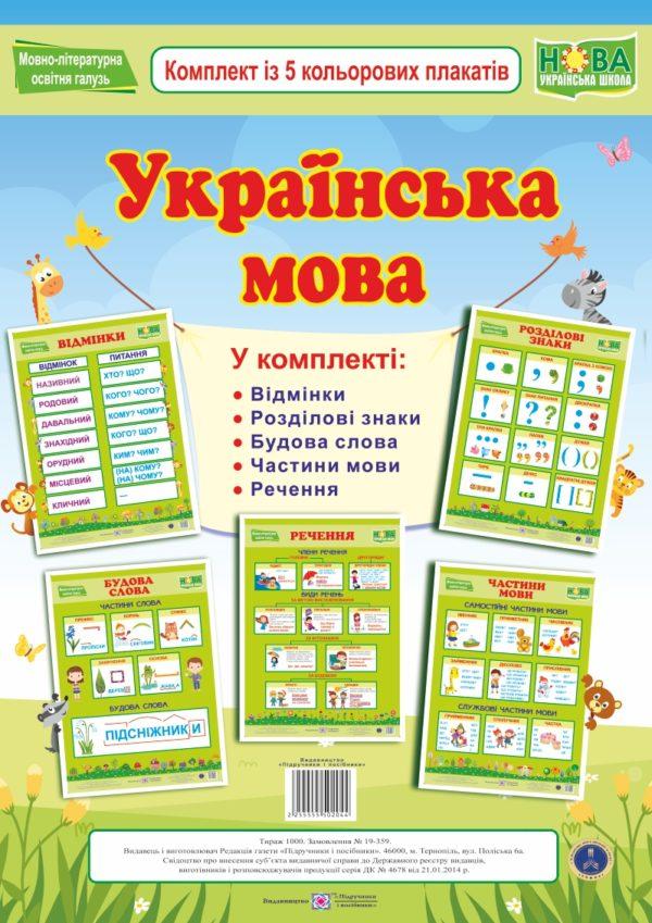 Українська мова. Комплект із 5 кольорових плакатів